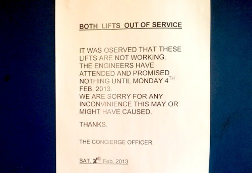 Broken lifts and hot water not working in Southwyck House