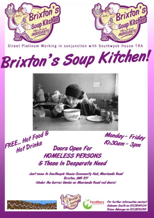 Update on the Brixton Soup Kitchen running from Southwyck House