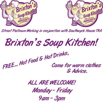 Brixton People's Kitchen serving hot meals from Southwyck House